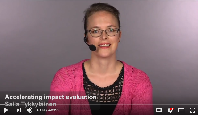 Accelerating impact evaluation by Saila Tykkyläinen