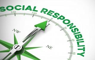 Corporate Social Responsibility als Konzept auf einem Kompass