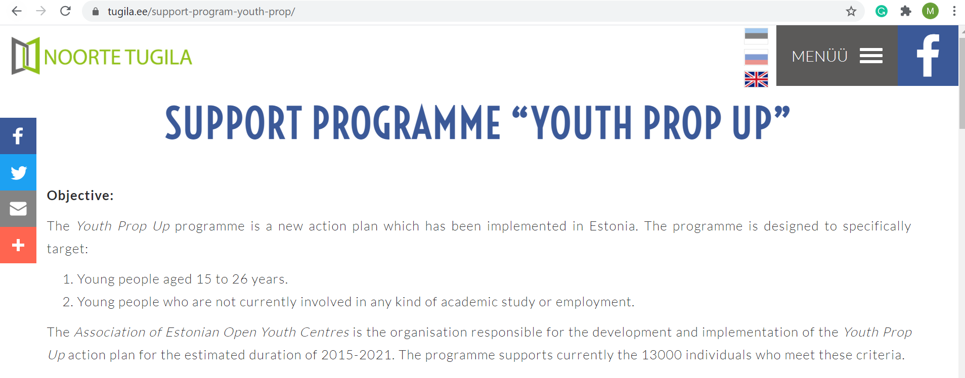 "Do you know youth support programme ""YOUTH PROP UP""?"
